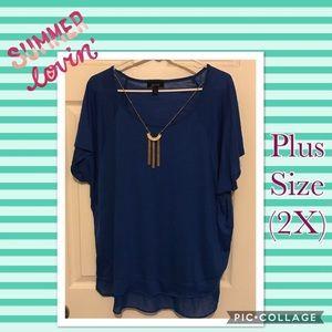 Plus Size (2X) Cobalt Blue Shirt with necklace!